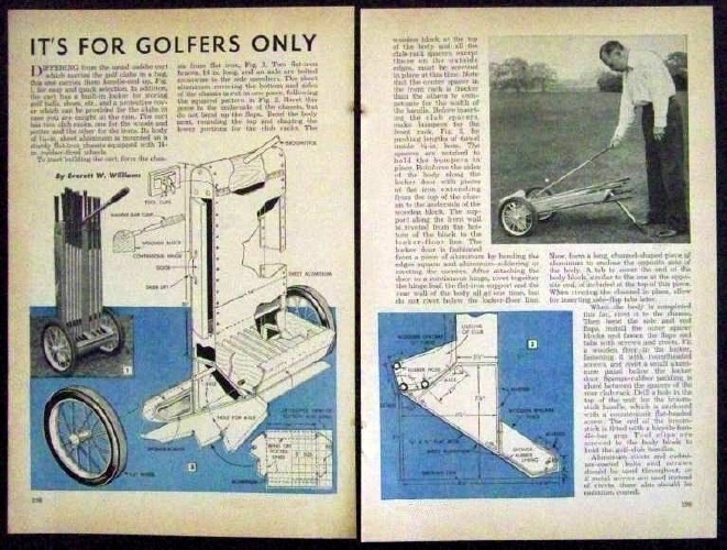 Golf cart caddie bag 1948 how to build plans hard side ebay for Golf cart plans