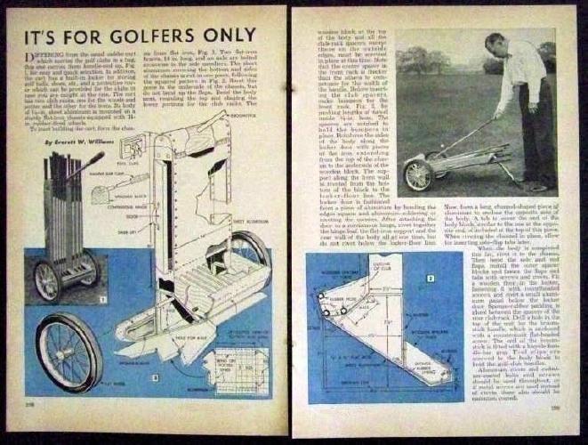 Golf Cart Caddie Bag 1948 How To Build Plans Hard Side Ebay