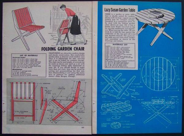 plans for a round picnic table and a folding garden