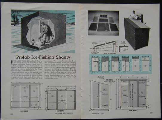 4 39 x6 39 ice fishing shanty how to build plans knocks down ebay for Ice fishing shanty plans