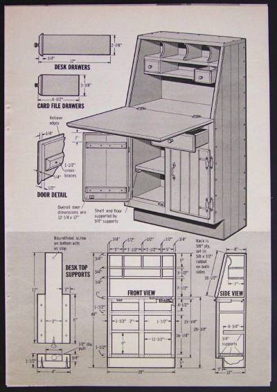 Secretary How To Build Plans Kitchen Desk Home Office