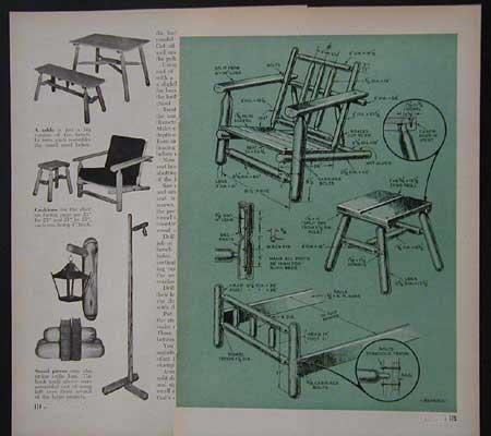 rustic cedar log furniture 1948 how to build plans ebay. Black Bedroom Furniture Sets. Home Design Ideas