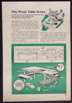 Details about 5' Picnic Table w/ Extensions How-To Build PLANS Wooden